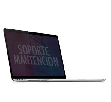 Notebook con mensaje de soporte y mantención